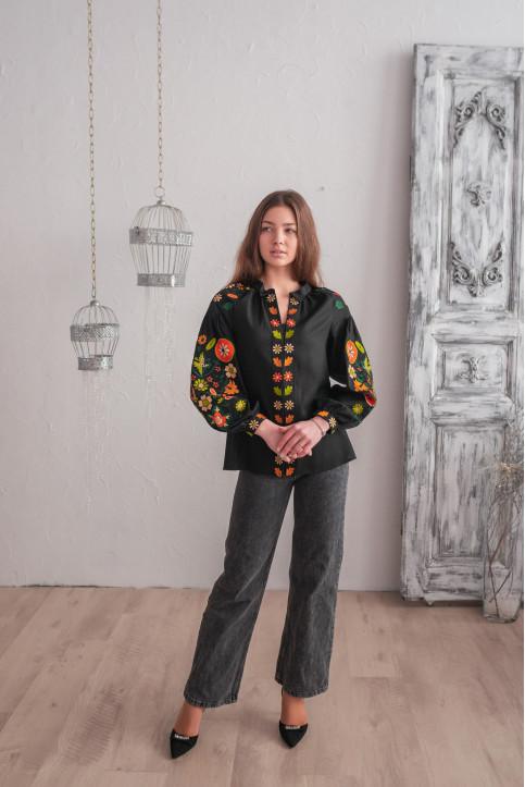 Купити жіночу вишиту сорочку Веснянка  (чорна з оранжевим)в Україні від Галичанка фото 1