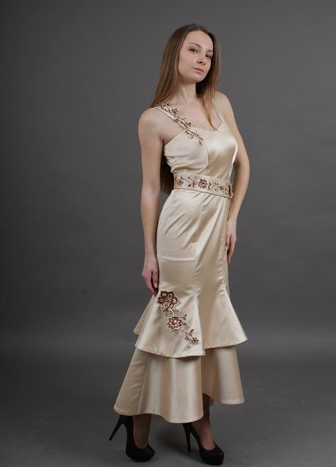 жін.плаття вечірне довге бежеве Венеція - жін.плаття вечірне довге бежеве Венеція фото 1