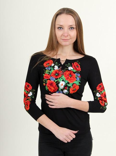 Купити жіночу футболку вишиванку Багряні маки плюс (чорна) в Україні від Галичанка фото 1