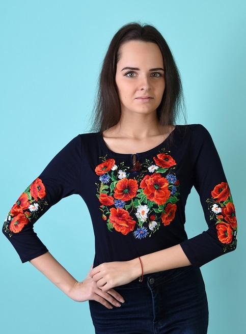 Купити жіночу футболку вишиванку Багряні маки плюс (синя) в Україні від Галичанка фото 1