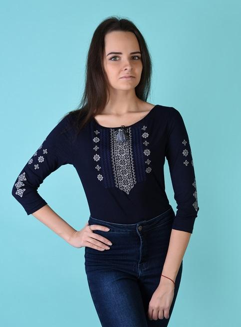 Купити жіночу футболку вишиванку Колорит (синя з сірим) в Україні від Галичанка фото 1