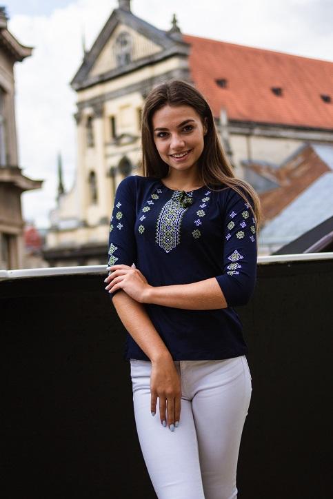 Купити жіночу футболку вишиванку Колорит (синя з оливкою) в Україні від Галичанка фото 1