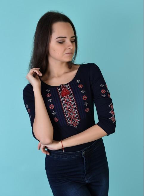 Купити жіночу футболку вишиванку Колорит (синя з червоним) в Україні від Галичанка фото 1