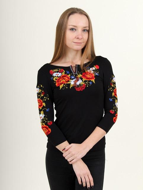 Купити жіночу футболку вишиванку Квітана плюс (чорна) в Україні від Галичанка фото 1