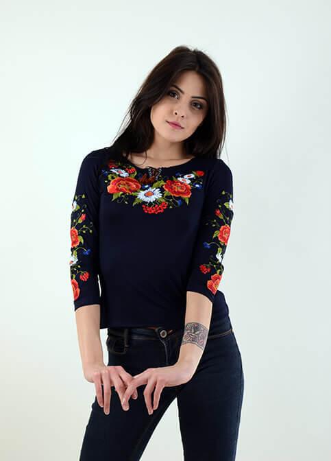 Купити жіночу футболку вишиванку Квітана плюс (синя) в Україні від Галичанка фото 1