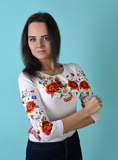 Купити жіночу футболку вишиванку Квітана плюс (біла) в Україні від Галичанка фото 1