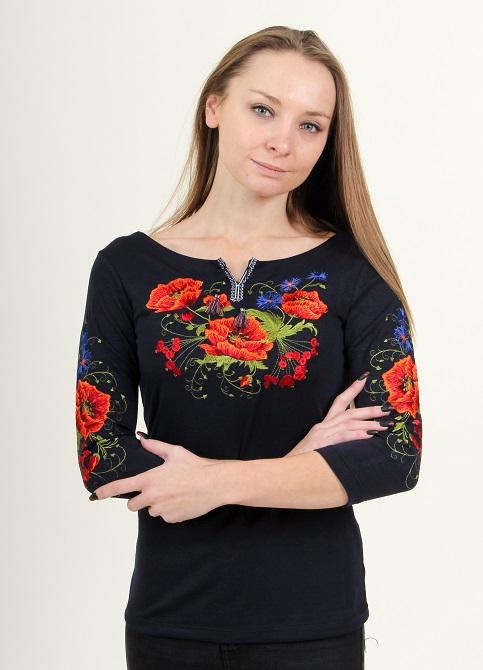 Купити жіночу футболку вишиванку Магія плюс (синя) в Україні від Галичанка фото 1