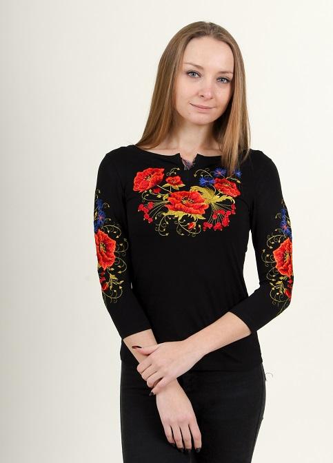 Купити жіночу футболку вишиванку Магія плюс (чорна) в Україні від Галичанка фото 1