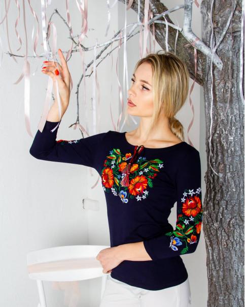 Купити жіночу футболку вишиванку Мазурка (темно синя) в Україні від Галичанка фото 1