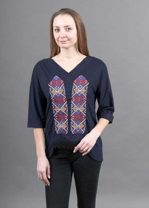 Купити жіночу футболку вишиванку Радість (синя) в Україні від Галичанка фото 1