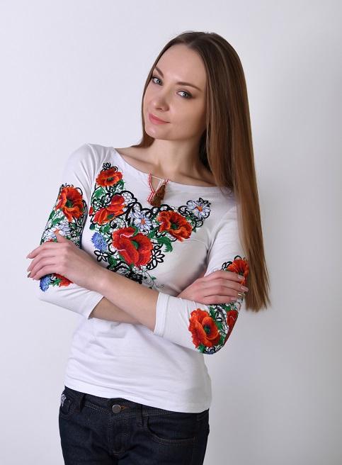 Купити жіночу футболку вишиванку Шарм плюс (біла) в Україні від Галичанка фото 1