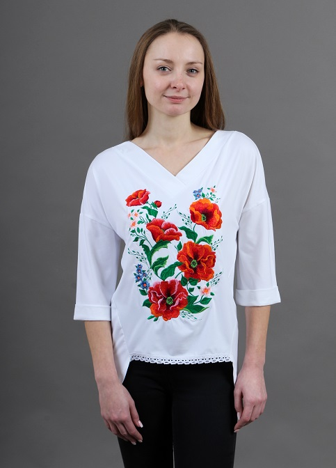 Купити жіночу футболку вишиванку Щастя (біла) в Україні від Галичанка фото 1