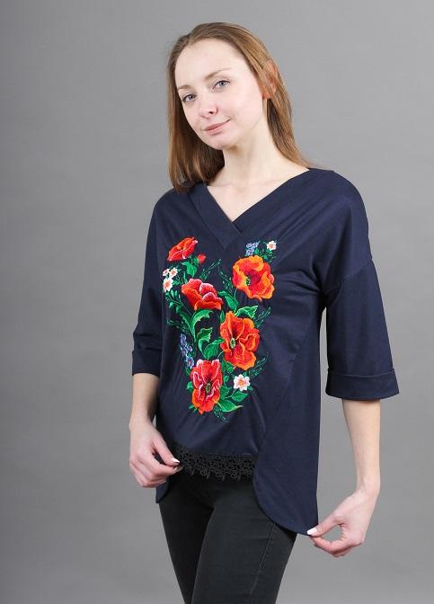 Купити жіночу футболку вишиванку Щастя синя в Україні від Галичанка фото 1