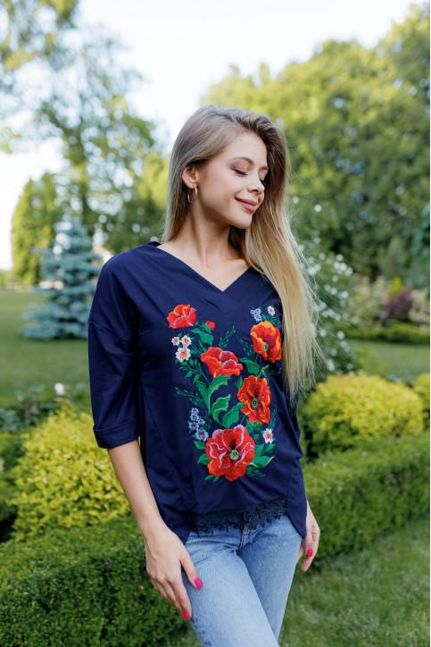 Купити жіночу футболку вишиванку Щастя ( синя) в Україні від Галичанка фото 1