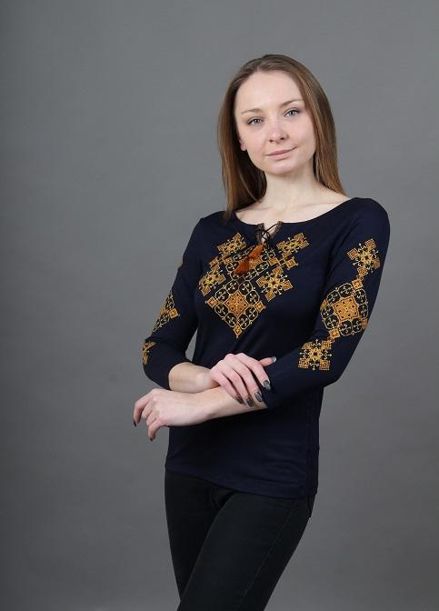 Купити жіночу футболку вишиванку Слов'янський амулет (синій з золотим) в Україні від Галичанка фото 1