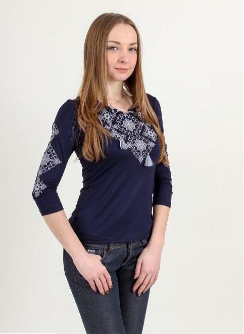 Купити жіночу футболку вишиванку Слов'янський амулет ( синій з сірим) в Україні від Галичанка фото 1