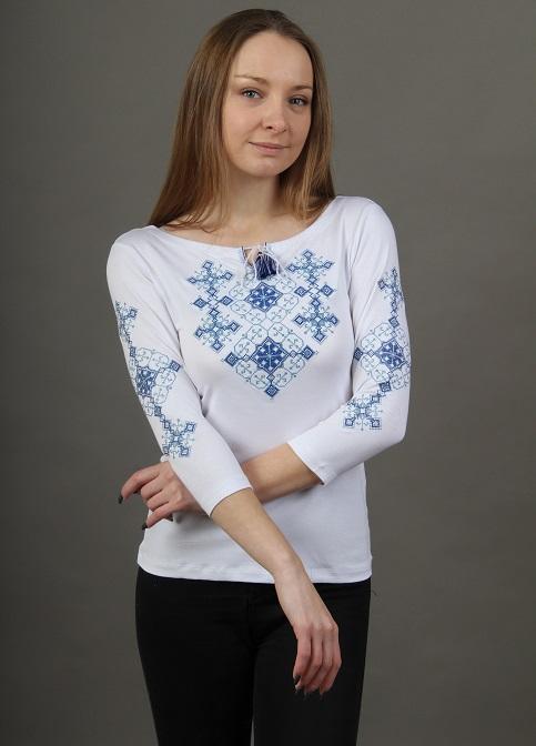 Купити жіночу футболку вишиванку Слов'янський амулет (білий з синім) в Україні від Галичанка фото 1