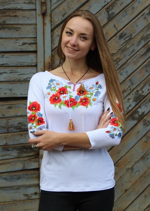 Купити жіночу футболку вишиванку Соната плюс (біла) в Україні від Галичанка фото 1