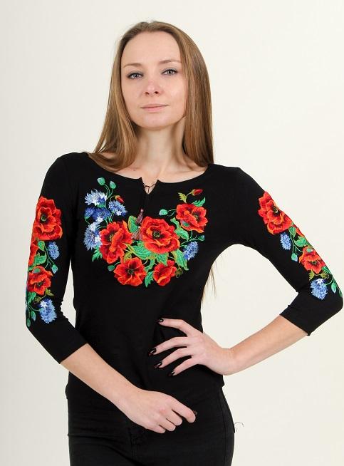 Купити жіночу футболку вишиванку Волошкове поле плюс (чорна) в Україні від Галичанка фото 1