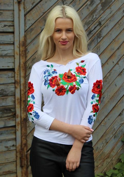 Купити жіночу футболку вишиванку Волошкове поле плюс (біла) в Україні від Галичанка фото 1