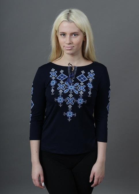 Купити жіночу футболку вишиванку Зоряна ніч (синя з синім) в Україні від Галичанка фото 1
