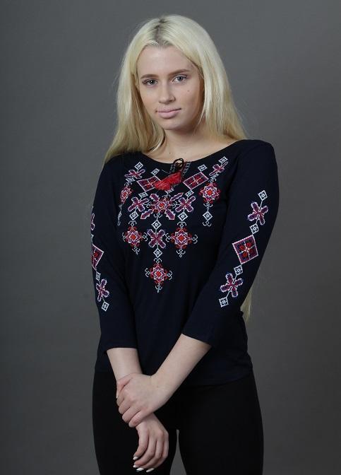 Купити жіночу футболку вишиванку Зоряна ніч (синя з червоним) в Україні від Галичанка фото 1