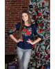 Купити жіночу футболку вишиванку Моніка плюс (темно синя) в Україні від Галичанка фото 2