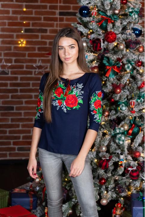 Купити жіночу футболку вишиванку Моніка плюс (темно синя) в Україні від Галичанка фото 1