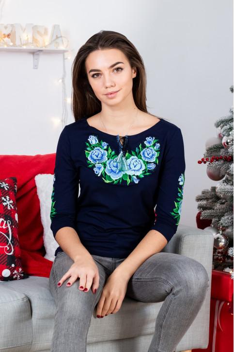 Купити жіночу футболку вишиванку  Тіффані плюс (синя з голубим) в Україні від Галичанка фото 1