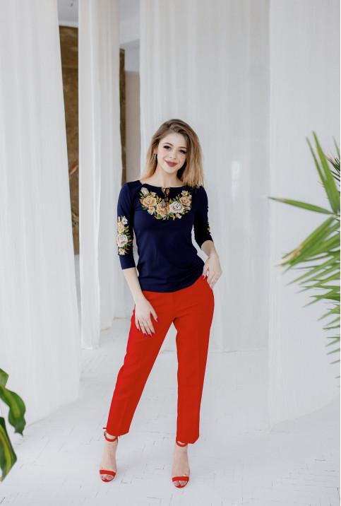 Купити жіночу футболку вишиванку Тіффані плюс (т.синя з золотом) в Україні від Галичанка фото 1