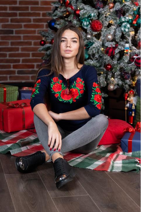 Купити жіночу футболку вишиванку Глорія плюс (темно синя з червоним) в Україні від Галичанка фото 1