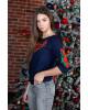 Купити жіночу футболку вишиванку Глорія плюс (темно синя з червоним) в Україні від Галичанка фото 2