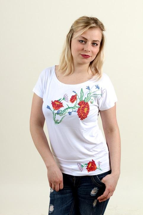 Купити жіночу футболку вишиванку Делікатність (біла) в Україні від Галичанка фото 1