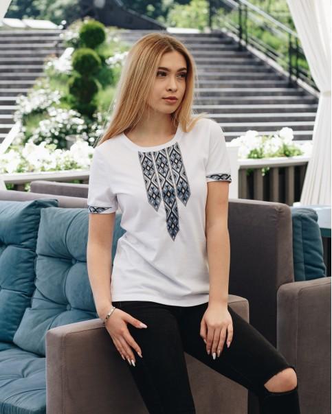Купити жіночу футболку вишиванку Фортуна (біла з сірим) в Україні від Галичанка фото 1