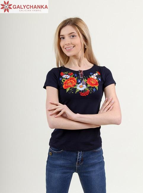 Купити жіночу футболку вишиванку Квітана (синя) в Україні від Галичанка фото 1