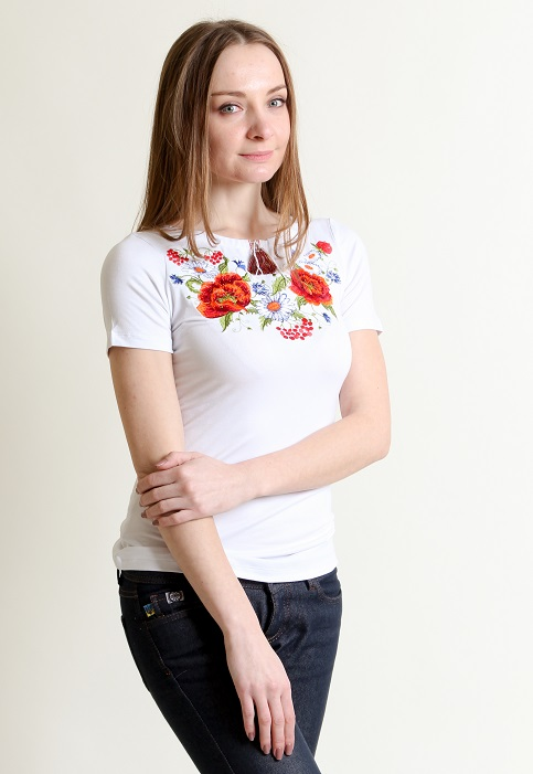 Купити жіночу футболку вишиванку Квітана (біла) в Україні від Галичанка фото 1