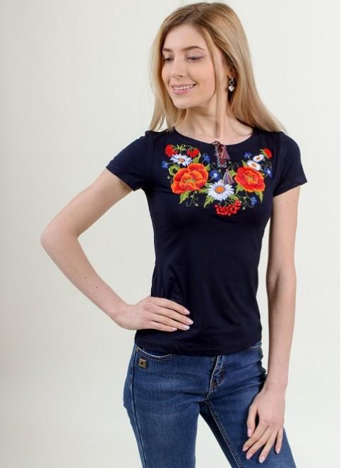 Купити жіночу футболку вишиванку Квітана (чорна) в Україні від Галичанка фото 1
