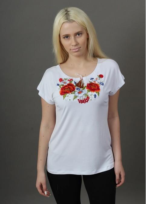 Купити жіночу футболку вишиванку Квітана крильце (біла) в Україні від Галичанка фото 1