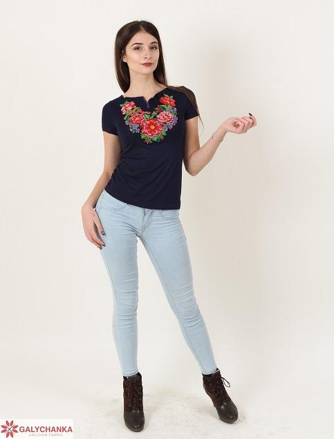 Купити жіночу футболку вишиванку Лаванда (чорна) в Україні від Галичанка фото 1