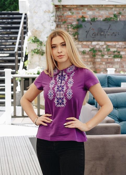 Купити жіночу футболку вишиванку Людмила (фіолетова) в Україні від Галичанка фото 1