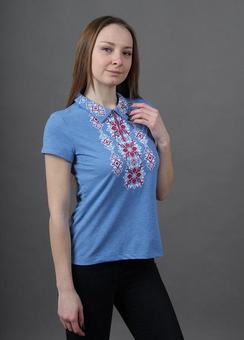 Купити жіночу футболку вишиванку Людмила (голуба з червоним) в Україні від Галичанка фото 1