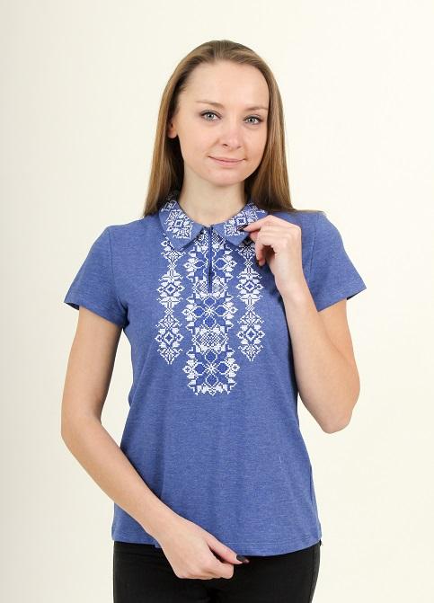 Купити жіночу футболку вишиванку Людмила (джинс т. з синім) в Україні від Галичанка фото 1