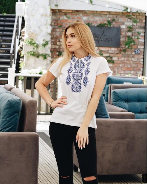 Купити жіночу футболку вишиванку Людмила (біла з синім) в Україні від Галичанка фото 1