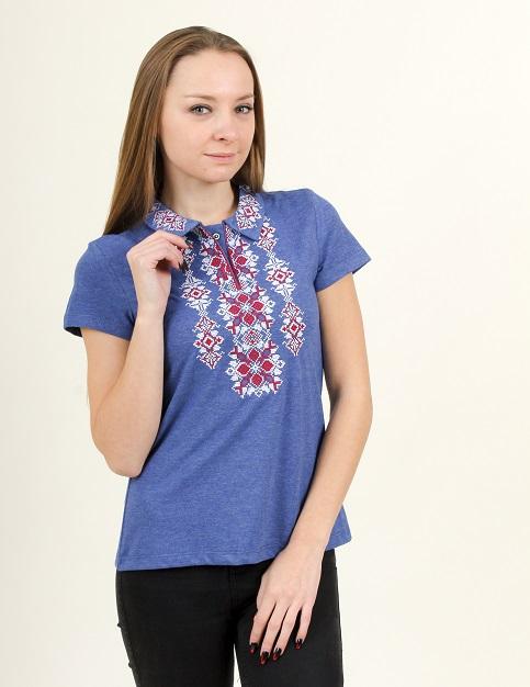 Купити жіночу футболку вишиванку Людмила (джинс т. з червоним) в Україні від Галичанка фото 1