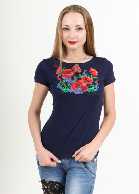 Купити жіночу футболку вишиванку Оксаночка (синя) в Україні від Галичанка фото 1