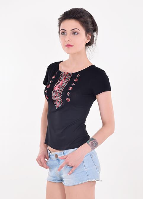 Купити жіночу футболку вишиванку Орнамент (синя з червоним) в Україні від Галичанка фото 1