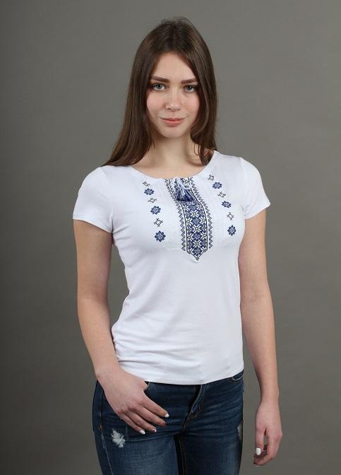Купити жіночу футболку вишиванку Орнамент (біла з синьо-чорним) в Україні від Галичанка фото 1