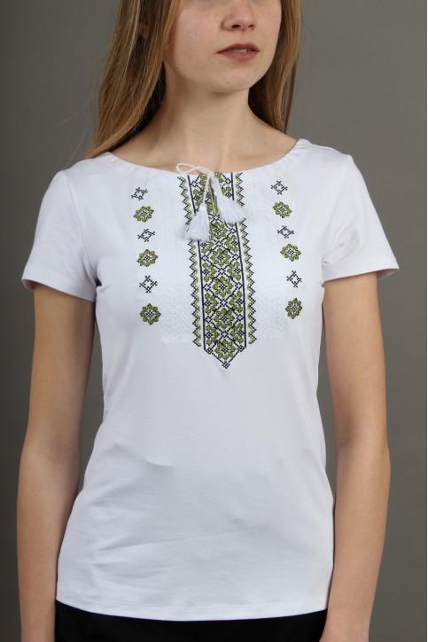 Купити жіночу футболку вишиванку Орнамент (біла з зеленим) в Україні від Галичанка фото 1
