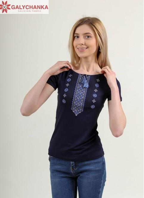 Купити жіночу футболку вишиванку Орнамент (синя з синім) в Україні від Галичанка фото 1