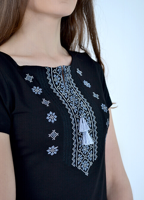 Купити жіночу футболку вишиванку Орнамент (синя з сірим) в Україні від Галичанка фото 1